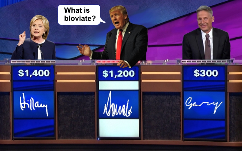 Candidate Jeopardy with Hillary Clinton Donald Trump Gary Johnson