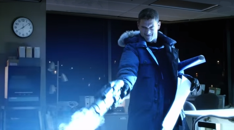 "Captain Cold and his cold gun, from ""Arrow"" and ""Legends of Tomorrow"" on CW."