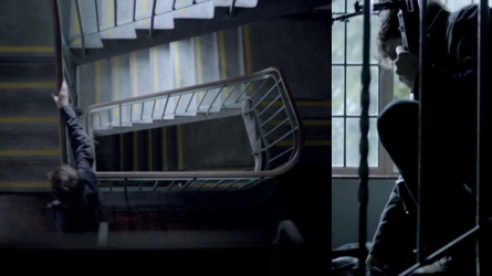 Sniper climbing stairs in Reichenbach Fall episode of Sherlock