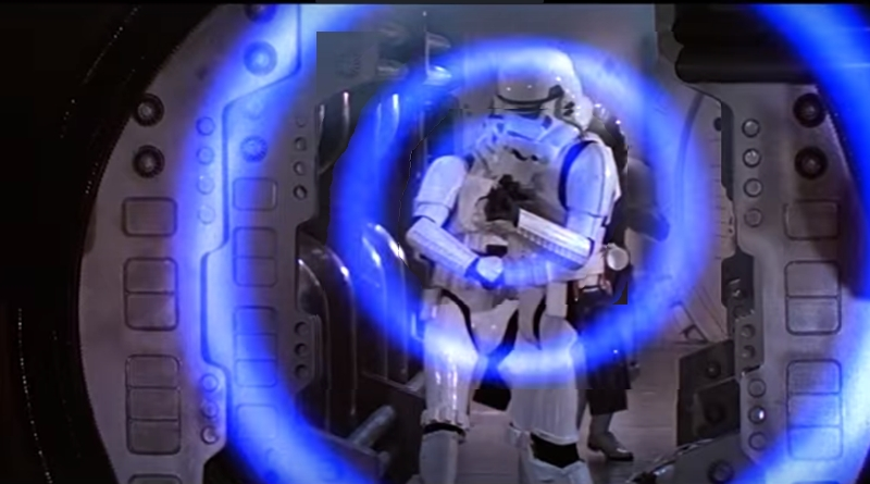 "Storm Trooper fires a shock wave, knocking down Princess Leia in ""Stars Wars: A New Hope."""
