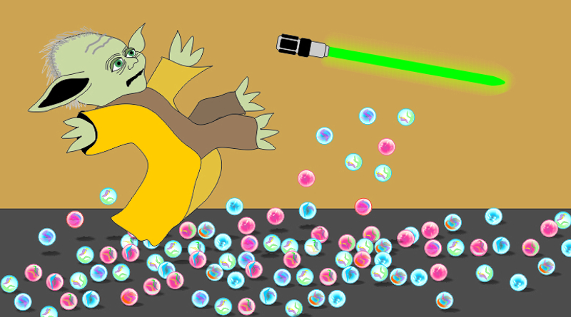 Yoda slips on marbles